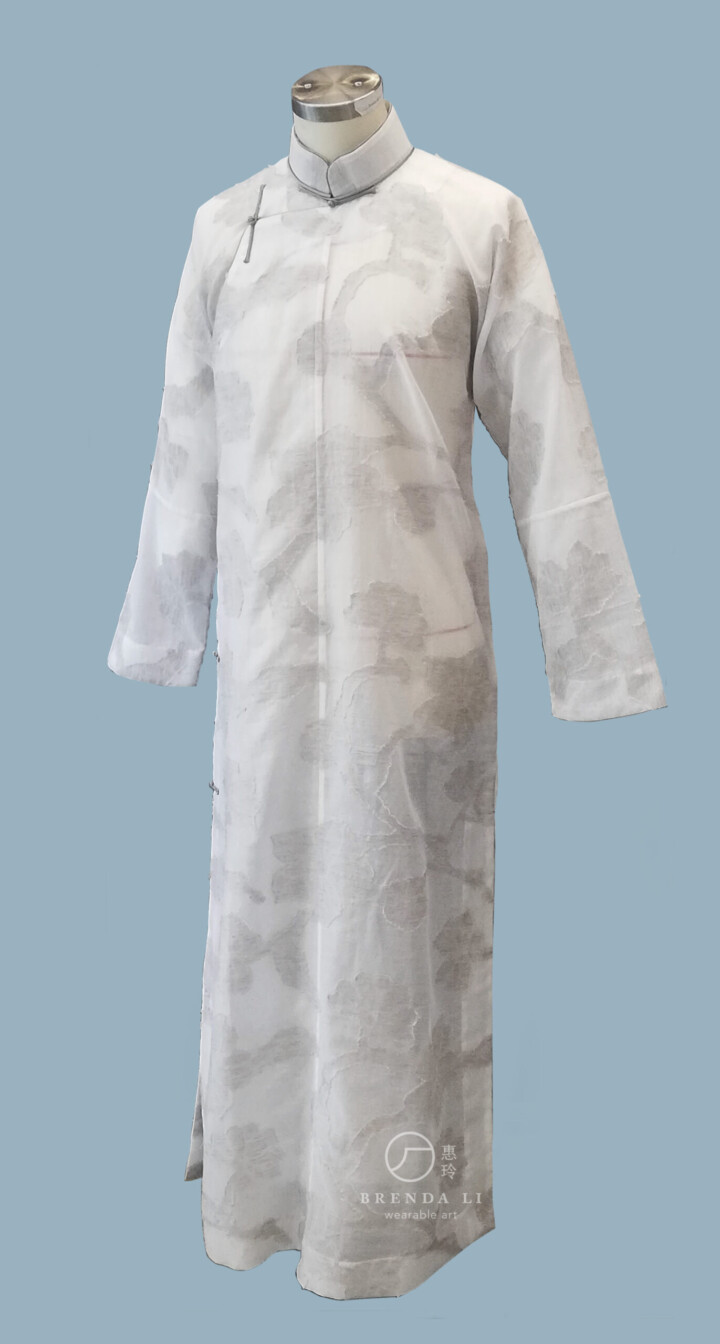 義大利紗羅提花男裝單長衫