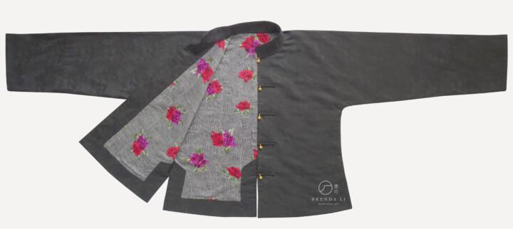 義大利提花葉紋棉麻男裝對襟袷馬褂