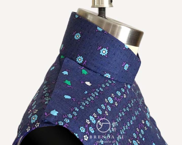 棉質印花無袖單長衫(肩襟特寫)