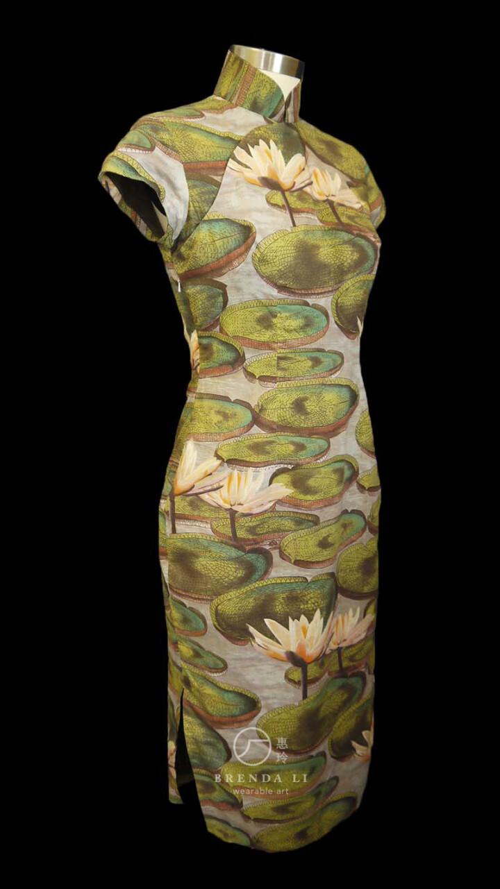 棉質印花短袖袷長衫