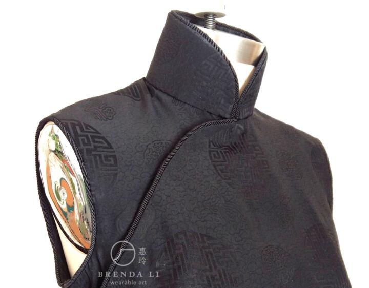 縐絲團花無袖袷長衫