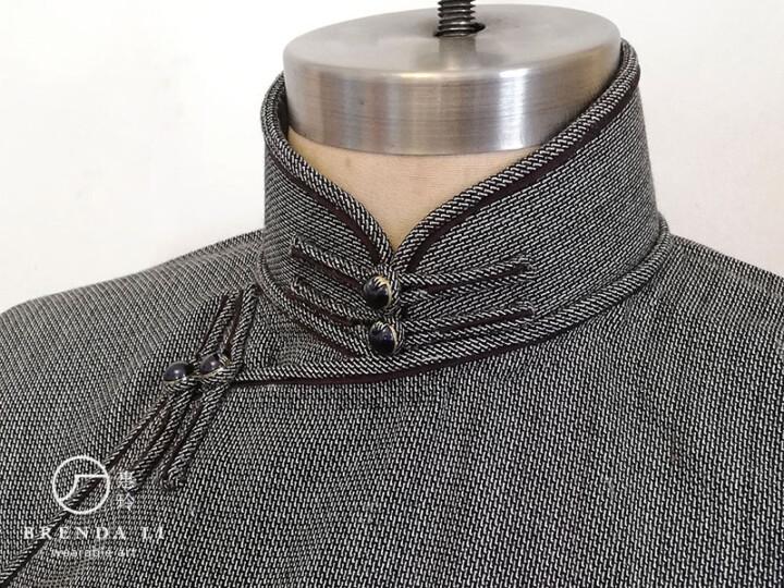 喀什米爾羊絨絲偷襟單長衫